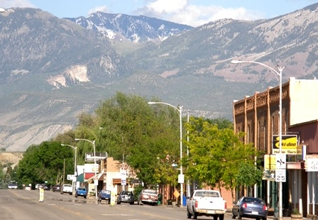 Downtown Hotchkiss Colorado with West Elk Mountains beyond.